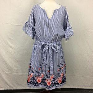 Westport Blue/White Striped Embroidered Dress